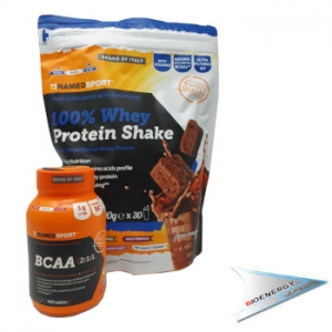 Named-100% WHEY PROTEIN SHAKE ( CONF. 900 GR.)  + BCAA 2:1:1 ( CONF. 100 CPR.)   Cookie & Cream